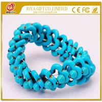 Traditional handmade Rough Turquoise stone Bracelet wholesale Semi precious stone beads women Gemstone Crystal Jewelry bangle