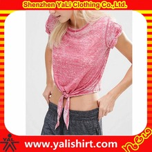 OEM summer slim fit lightweight plain roll sleeve cropped knot design burnout t shirts wholesale