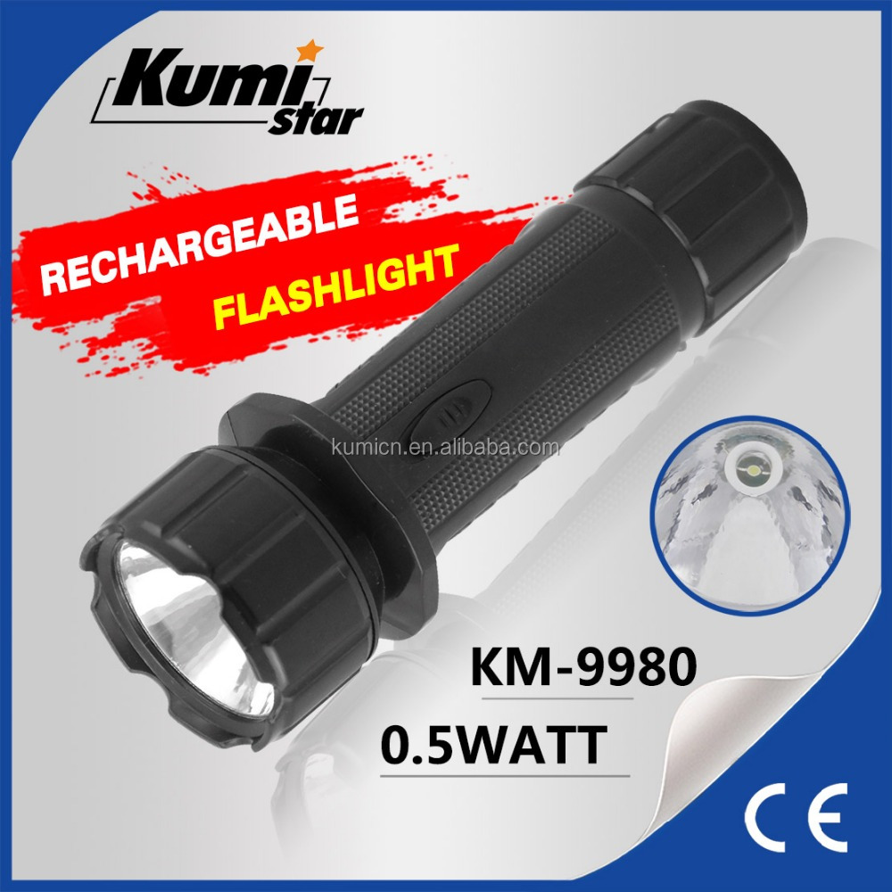 rechargeable led plastic best torch light KM-9980