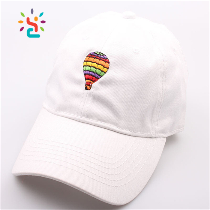 Promotional white dad cap Balloon custom design flat embroidery snapback hats with adjustable metal back closure
