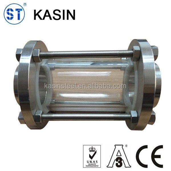 Stainless steel hygienic threaded glass tube sight glass
