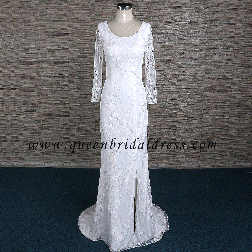 Sexy long Sleeves Jersey Fabric Ivory Lace Wedding Dresses