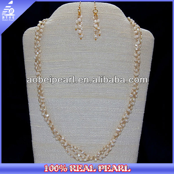 NK-00583 hot selling freshwater nugget pearl shell necklace