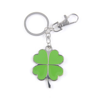 Fashion promotion enamel clover metal key chain