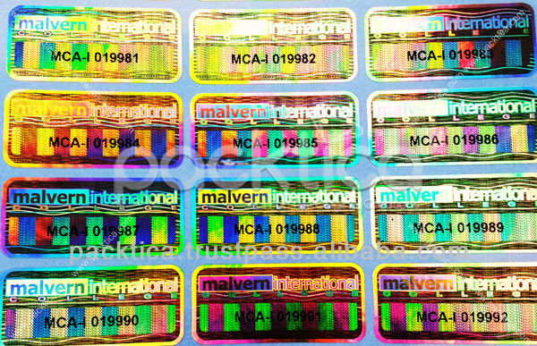 Hologram Label With Serial Number Printing