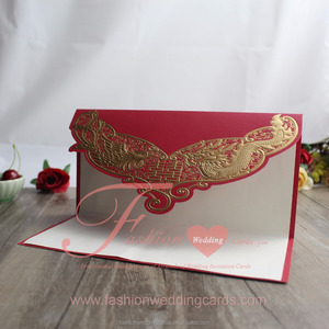 Gold Foiling Traditional Chinese Red Embossing Wedding Invitation Card