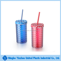 16oz double wall plastic drinking jar tumbler with lid and straw