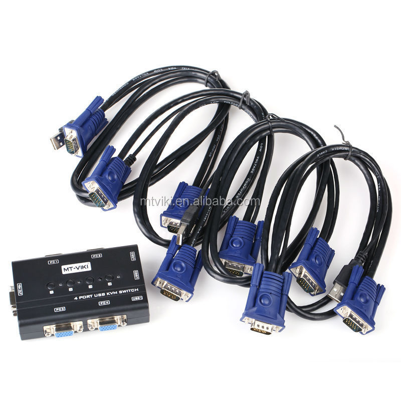 support push button and switch buzzer 4 port usb KVM switch
