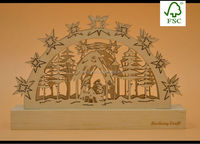 2015 new design Christmas tree wooden laser cutting with light