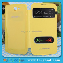 Fancy Flip Dual-windown Design Mobile Phone Case For Samsung Galaxy Note 2 Covers(Yellow)