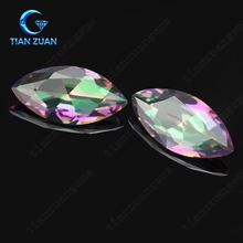 marquise shape rainbow color glass gemstone Machine cut for jewerly making