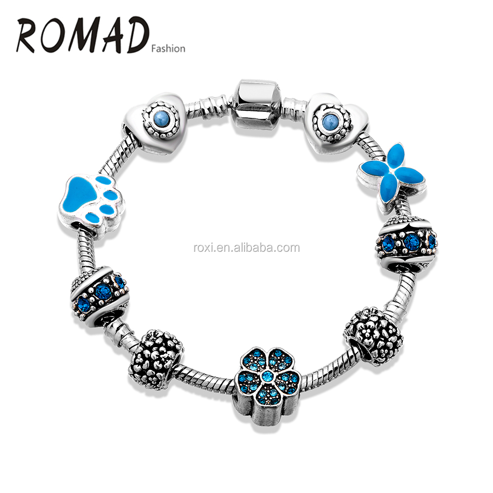 China Wholesale Europe Style Heart Adoroble Dog Footprint Blue Glass Charm Bracelet