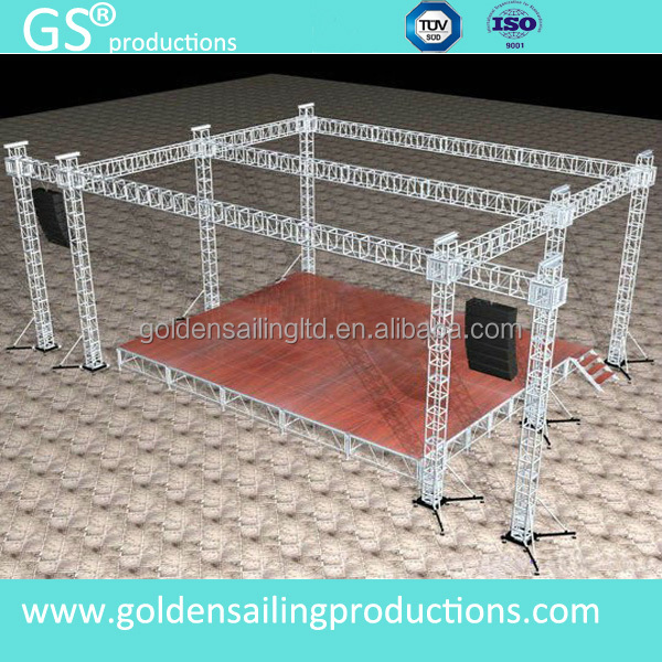 customized aluminum roof truss with side wing for speakers and led walls