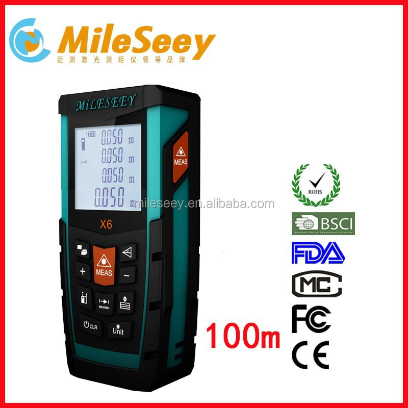 Mileseey X6 100M China Made China Laser Used Infrared Rangefinder with Non-slip Soft Glue Groove Design
