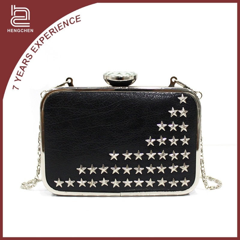 Black pu rivet Evening Bags discount designer purses handbags for women