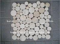 Best Cut Slices Round Tile Interlocking White Marble