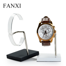 FANXI Custom Logo Watch Holder C Clip Jewelry Stand Rack Shop Window White Black Painting Wood Watch Display