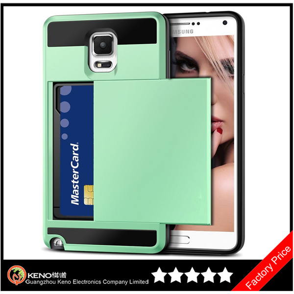 Keno Hybrid Armor Wallet Case Card Holder Slot Carrying Cover Hard PC Case + Soft TPU Bumper Cover for Samsung Galaxy Note 3