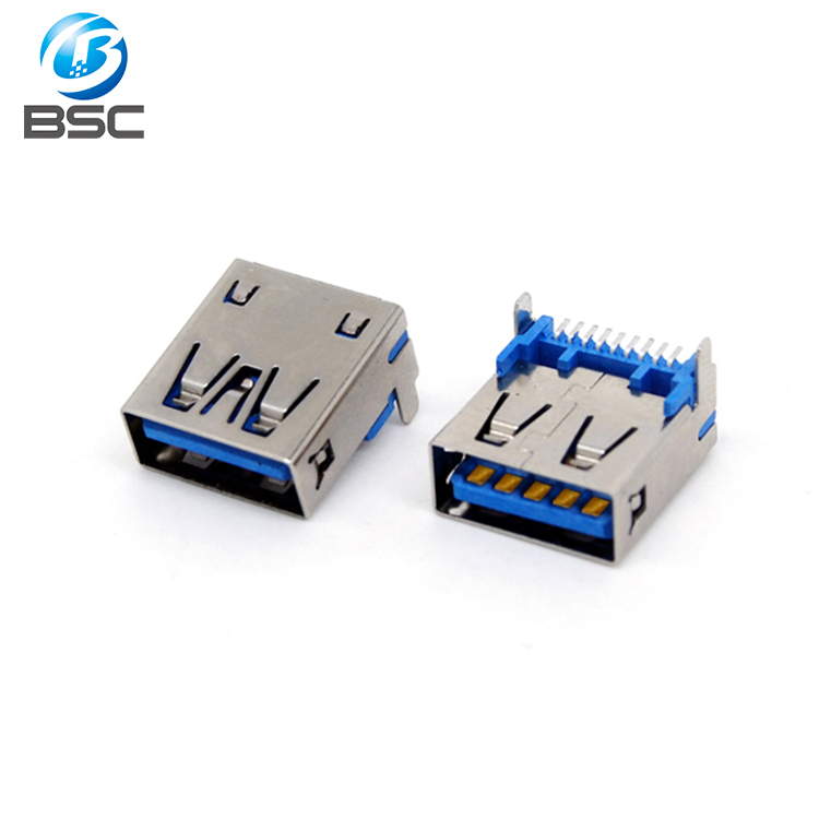 Short body 9 Pin USB 3.0 Type-A Female Connector Ports Replacement Right Angle Socket