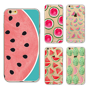 Promotion Soft Clear TPU Phone Case Color Printing Fresh Bright Watermelon for iPhone 7 7 Plus 6 6plus