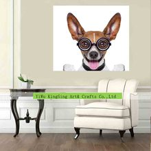Dog wear glasses Abstract animal canvas painting Single picture wall art for living room