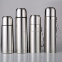 QC016 Double wall stainless steel vacuum bullet flask with strap