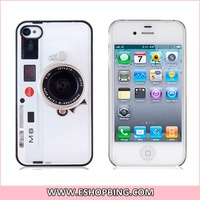 Camera Pattern PU Leather Back Surface Protective Case for iphone 4 4S White