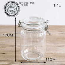 Large empty airtight round shape kilner food container glass storage jar /food container