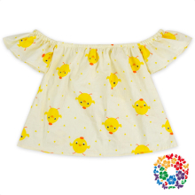 Top Fashion Cotton and Polyester Wholesale Yellow Chick Print Design Kids Girls T Shirt