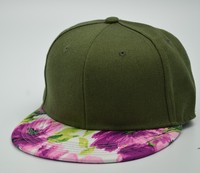 Flat bill fitted cap floral printing snapback cap hat