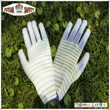 FTSAFETY 13G fashion nylon knit glove with pu Coated for lady garden