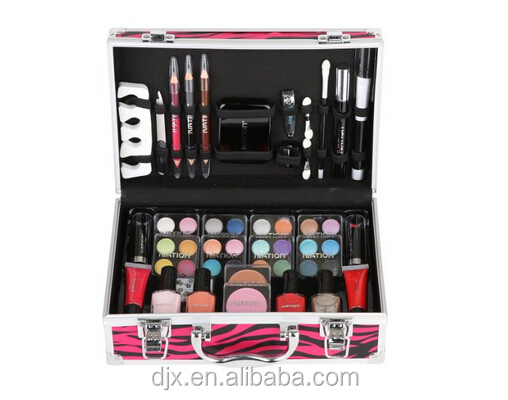 wholesale Red Zebra printing cosmetic case/aluminum cosmetic case/Carry All Makeup Train Case with Pro Makeup