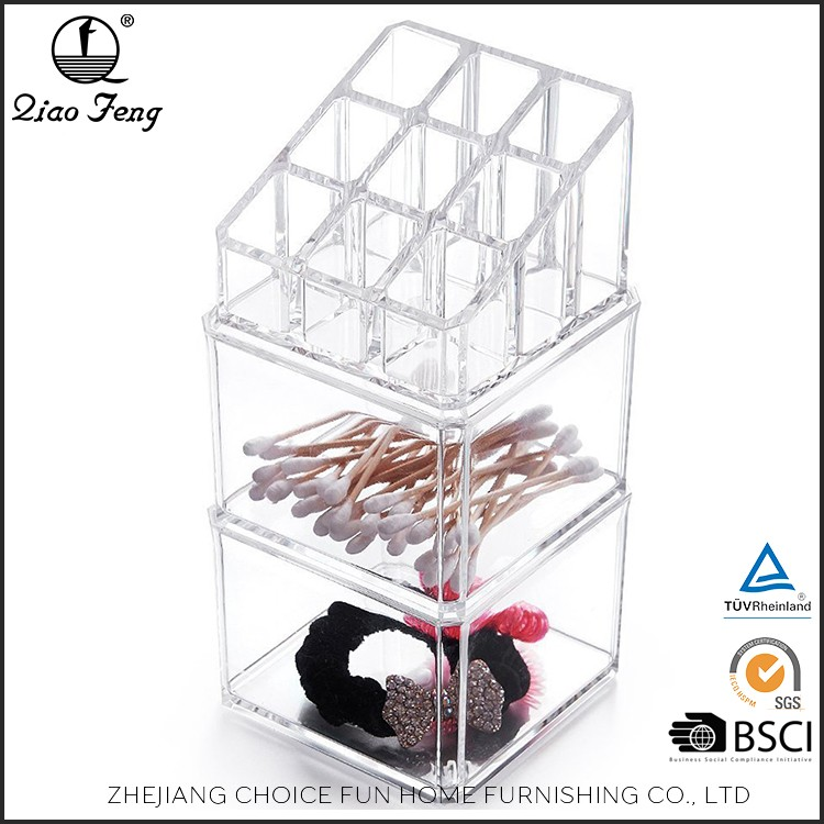 High quality beautiful transparent makeup acrylic drawer storage organizer