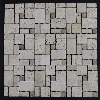 "Decorstone24 Natural Travertine Stone Peel And Stick Backsplash Mosaic Tiles 12""x12"""