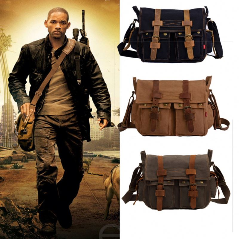 Men's Vintage Canvas Shoulder Bag Leather Satchel School Military Two Sided Shoulder Bag Messenger Bag