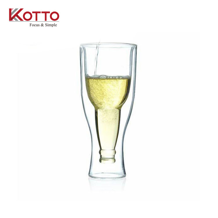 240ml clear borosilicate Novelty Upside Down Bottom-up Useful Double Wall Beer Bottle Glass Cup