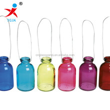 color hanging glass decorative jar with wire handle