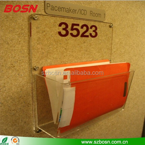 clear acrylic tapered pocket chart holder orange wall mounted magazine case