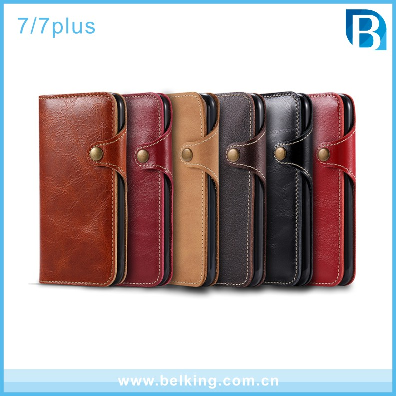 Genuine leather cell phone case for iphone 7 7plus ,glossy oil genuine leather cell phone case with strap