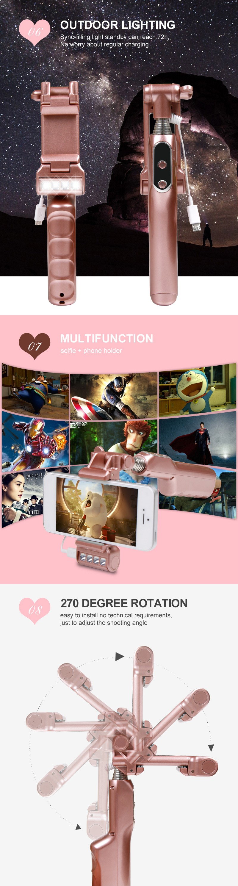 No APP Requested with selfie fill in light One-Piece Foldable bluetooth Selfie Stick with selfie fill in light