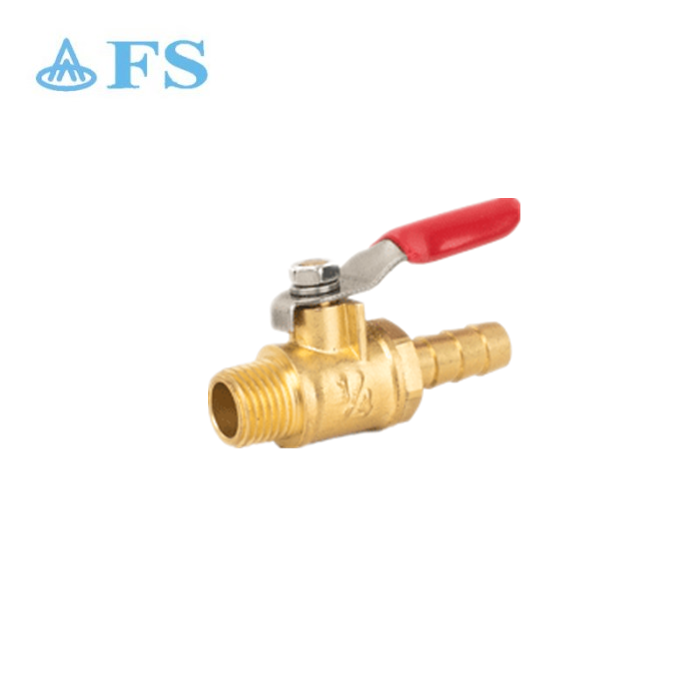 "USA eco-friendly no lead brass forged 1/4"" male*H red short handle mini cock gas ball valve"