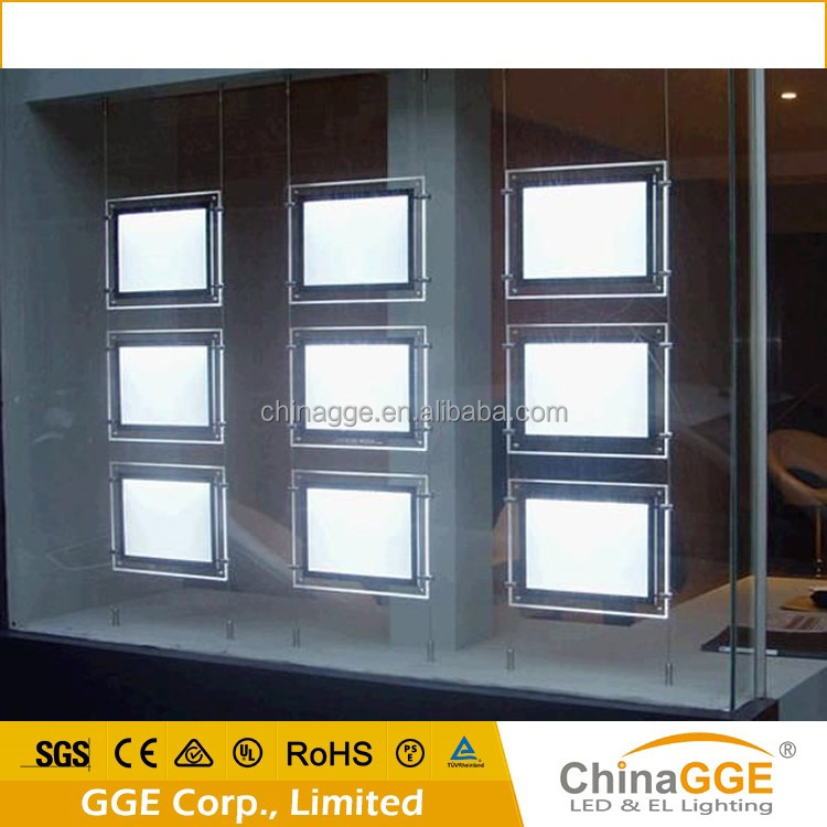 Shenzhen <strong>LED</strong> Display Real Estate Signs A4 Portrait Real Estate Window Hanging <strong>LED</strong> Hanging Crystal Acrylic Light <strong>Box</strong>