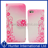 Pink Flower Design For iPhone 6 Book Case