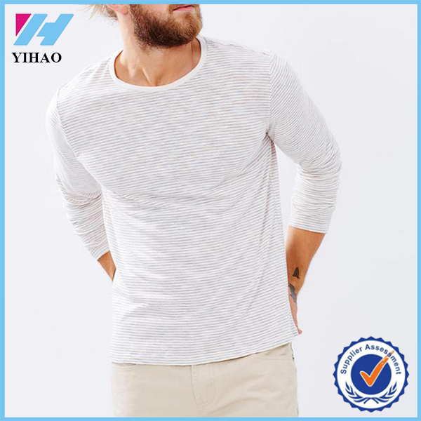Yihao New Design Mens 90% Cotton 10% Polyester Slim Fit Long Sleeve T Shirt with Classic Stripes Custom Plain T-shirts Wholesale