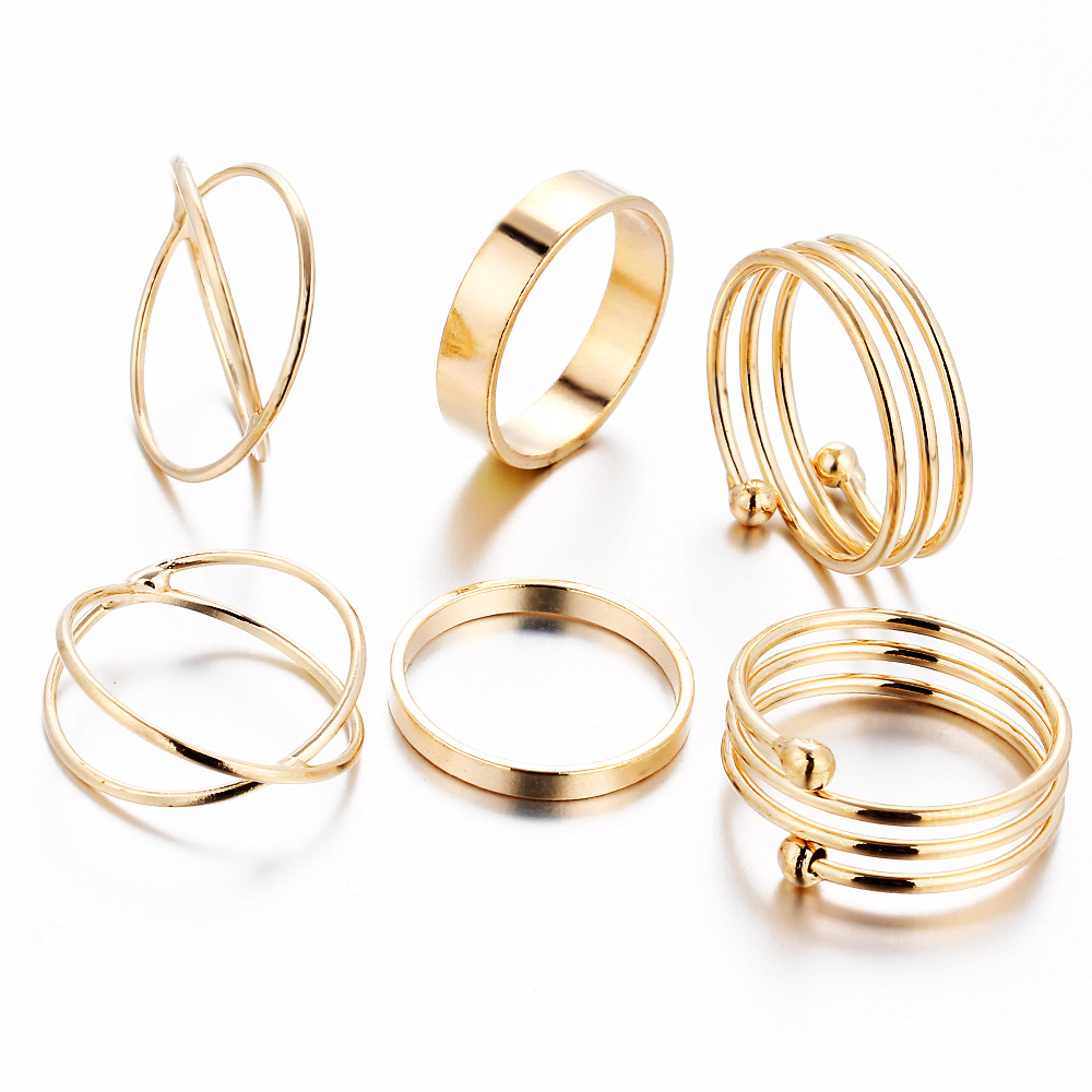 Vintage Punk Jewelry Simple Fancy Gold Plated Chunky Rings Popular Women & Men Unisex Jewelry Set Adjustable Stackable Ring