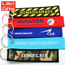 Wholesale Cheap Custom Woven Insert Before Fabric Pilot Flight Embroidered Keychain