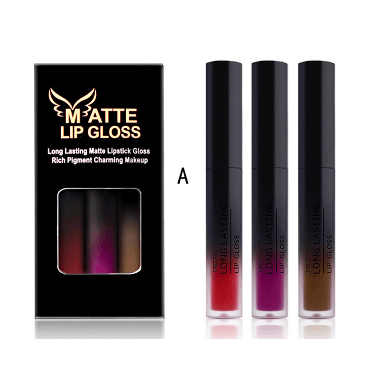 OEM ODM matte liquid lipstick waterproof commercial <strong>3</strong> colors lip gloss lip set private label