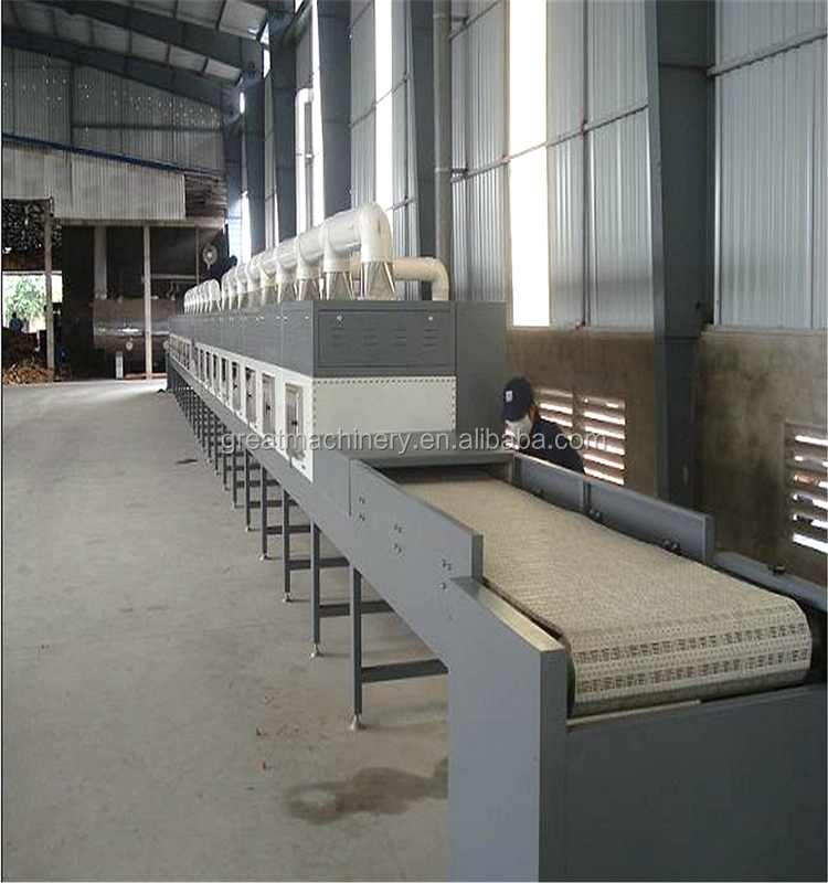 Factory direct sales of stainless steel continuous microwave drying machine/ cocklebur fruit drying machine