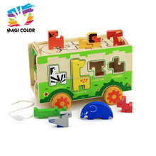Wholesale cheap interesting wooden pull animal blocks cart toy for baby W05C066