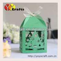 Christmas Tree Style Party Favor Laser cut christmas candy favor boxes with ribbon chrismas favor gift box 200pcs/lot